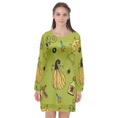 Funny Scary Spooky Halloween Party Design Long Sleeve Chiffon Shift Dress