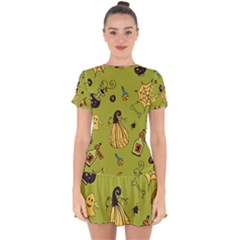 Funny Scary Spooky Halloween Party Design Drop Hem Mini Chiffon Dress
