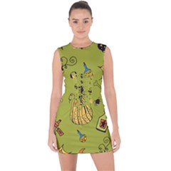Funny Scary Spooky Halloween Party Design Lace Up Front Bodycon Dress