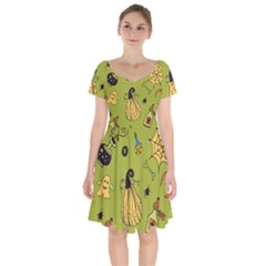 Funny Scary Spooky Halloween Party Design Short Sleeve Bardot Dress