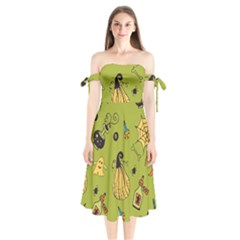 Funny Scary Spooky Halloween Party Design Shoulder Tie Bardot Midi Dress