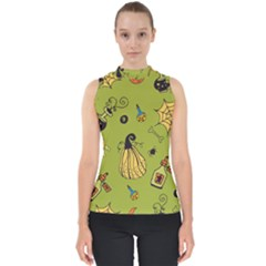 Funny Scary Spooky Halloween Party Design Mock Neck Shell Top