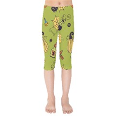 Funny Scary Spooky Halloween Party Design Kids  Capri Leggings