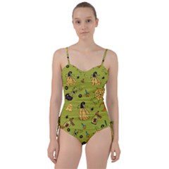 Funny Scary Spooky Halloween Party Design Sweetheart Tankini Set