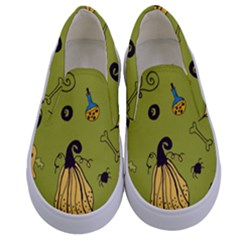 Funny Scary Spooky Halloween Party Design Kids  Canvas Slip Ons
