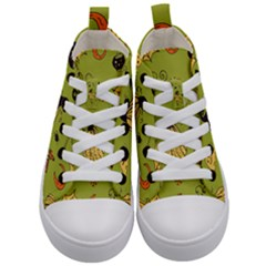 Funny Scary Spooky Halloween Party Design Kid s Mid Top Canvas Sneakers
