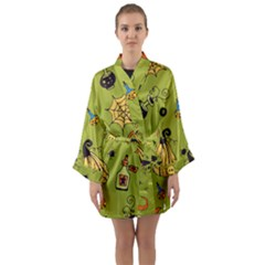 Funny Scary Spooky Halloween Party Design Long Sleeve Kimono Robe
