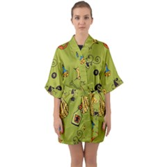 Funny Scary Spooky Halloween Party Design Quarter Sleeve Kimono Robe