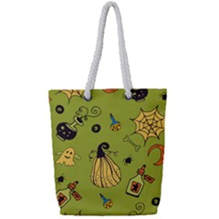 Funny Scary Spooky Halloween Party Design Full Print Rope Handle Tote (small) by HalloweenParty