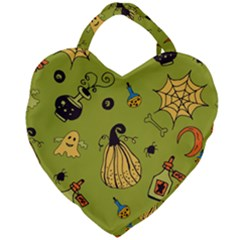 Funny Scary Spooky Halloween Party Design Giant Heart Shaped Tote by HalloweenParty