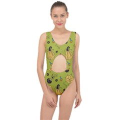 Funny Scary Spooky Halloween Party Design Center Cut Out Swimsuit by HalloweenParty