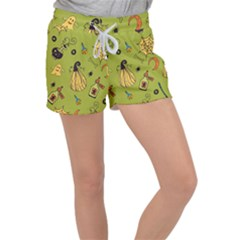 Funny Scary Spooky Halloween Party Design Women s Velour Lounge Shorts