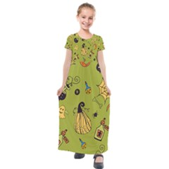 Funny Scary Spooky Halloween Party Design Kids  Short Sleeve Maxi Dress