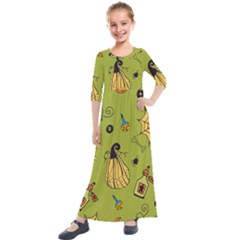 Funny Scary Spooky Halloween Party Design Kids  Quarter Sleeve Maxi Dress