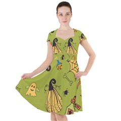 Funny Scary Spooky Halloween Party Design Cap Sleeve Midi Dress