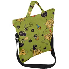 Funny Scary Spooky Halloween Party Design Fold Over Handle Tote Bag by HalloweenParty