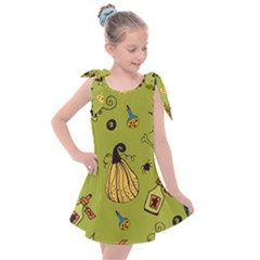 Funny Scary Spooky Halloween Party Design Kids  Tie Up Tunic Dress