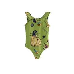 Funny Scary Spooky Halloween Party Design Kids  Frill Swimsuit