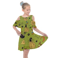 Funny Scary Spooky Halloween Party Design Kids  Shoulder Cutout Chiffon Dress