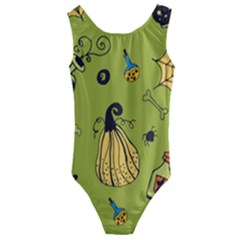 Funny Scary Spooky Halloween Party Design Kids  Cut Out Back One Piece Swimsuit