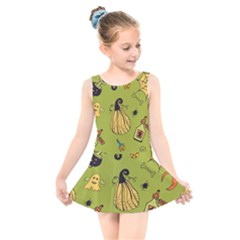 Funny Scary Spooky Halloween Party Design Kids  Skater Dress Swimsuit