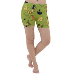 Funny Scary Spooky Halloween Party Design Lightweight Velour Yoga Shorts