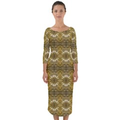 Golden Ornate Pattern Quarter Sleeve Midi Bodycon Dress by dflcprintsclothing