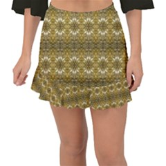 Golden Ornate Pattern Fishtail Mini Chiffon Skirt by dflcprintsclothing