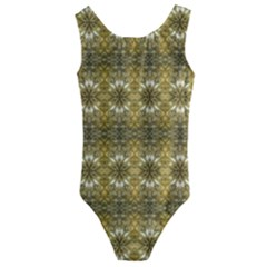 Golden Ornate Pattern Kids  Cut Out Back One Piece Swimsuit by dflcprintsclothing
