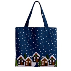 Winter Idyll Zipper Grocery Tote Bag by Valentinaart