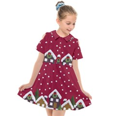 Winter Idyll Kids  Short Sleeve Shirt Dress by Valentinaart