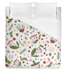Floral Christmas Pattern  Duvet Cover (queen Size) by Valentinaart
