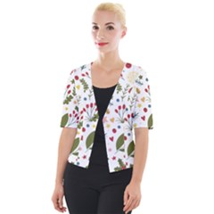 Floral Christmas Pattern  Cropped Button Cardigan