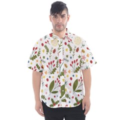 Floral Christmas Pattern  Men s Short Sleeve Shirt by Valentinaart