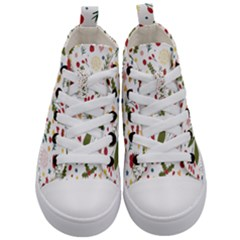 Floral Christmas Pattern  Kid s Mid Top Canvas Sneakers