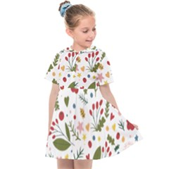 Floral Christmas Pattern  Kids  Sailor Dress by Valentinaart
