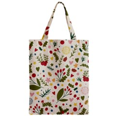 Floral Christmas Pattern  Zipper Classic Tote Bag by Valentinaart
