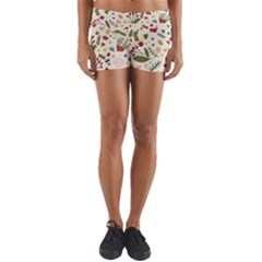 Floral Christmas Pattern  Yoga Shorts