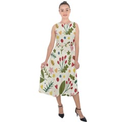 Floral Christmas Pattern  Midi Tie Back Chiffon Dress by Valentinaart