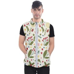 Floral Christmas Pattern  Men s Puffer Vest by Valentinaart