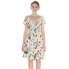 Floral Christmas Pattern  Short Sleeve Bardot Dress by Valentinaart