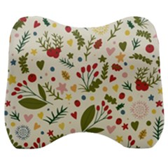 Floral Christmas Pattern  Velour Head Support Cushion by Valentinaart