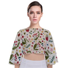 Floral Christmas Pattern  Tie Back Butterfly Sleeve Chiffon Top