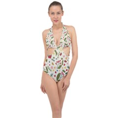 Floral Christmas Pattern  Halter Front Plunge Swimsuit by Valentinaart