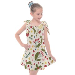 Floral Christmas Pattern  Kids  Tie Up Tunic Dress by Valentinaart