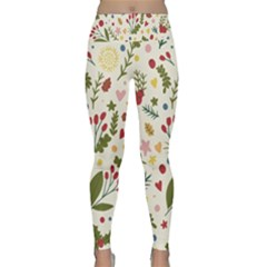 Floral Christmas Pattern  Lightweight Velour Classic Yoga Leggings