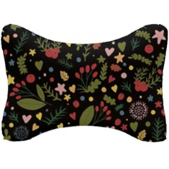 Floral Christmas Pattern  Seat Head Rest Cushion by Valentinaart