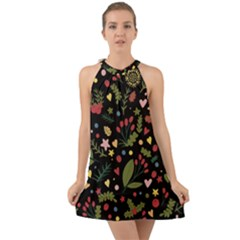 Floral Christmas Pattern  Halter Tie Back Chiffon Dress