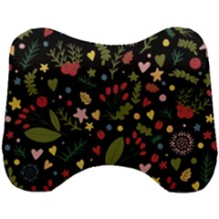 Floral Christmas Pattern  Head Support Cushion by Valentinaart