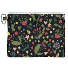 Floral Christmas Pattern  Canvas Cosmetic Bag (xxl) by Valentinaart